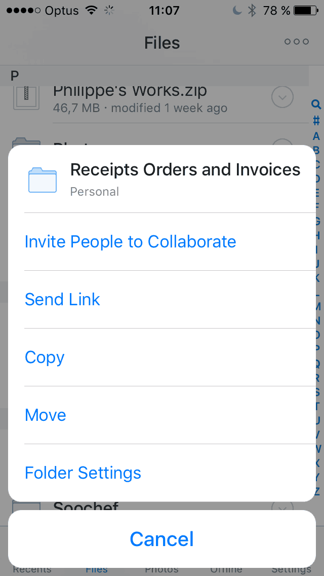 Dropdown menu on iOS by Dropbox from UIGarage