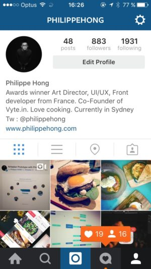 Profile on iOS by Instagram from UIGarage