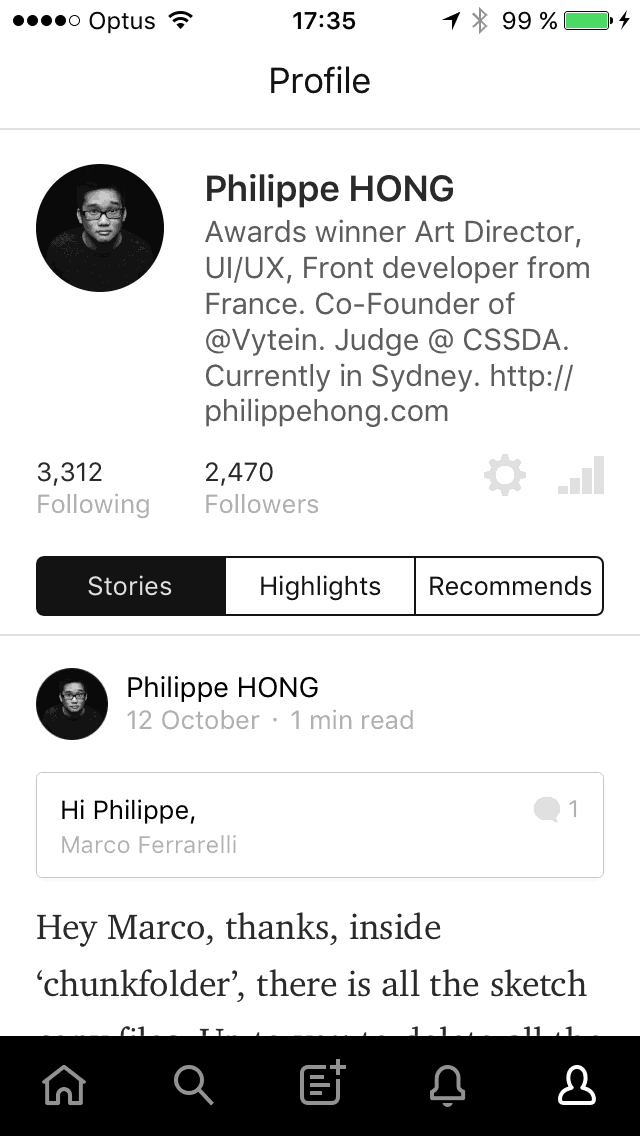 Profile on iOS by Medium from UIGarage