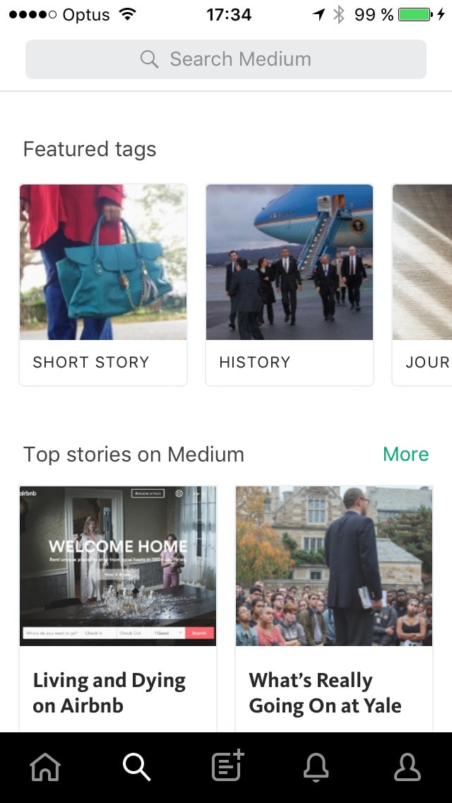 Search screen on iOS by medium from UIGarage