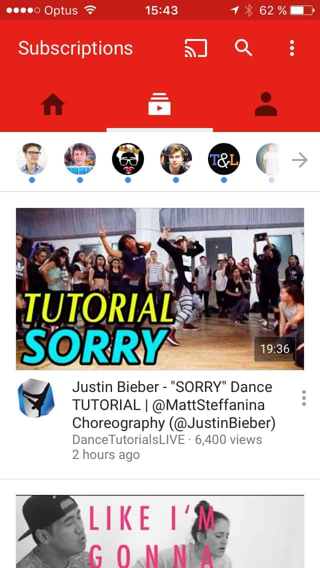 Homepage on iOS by Youtube from UIGarage