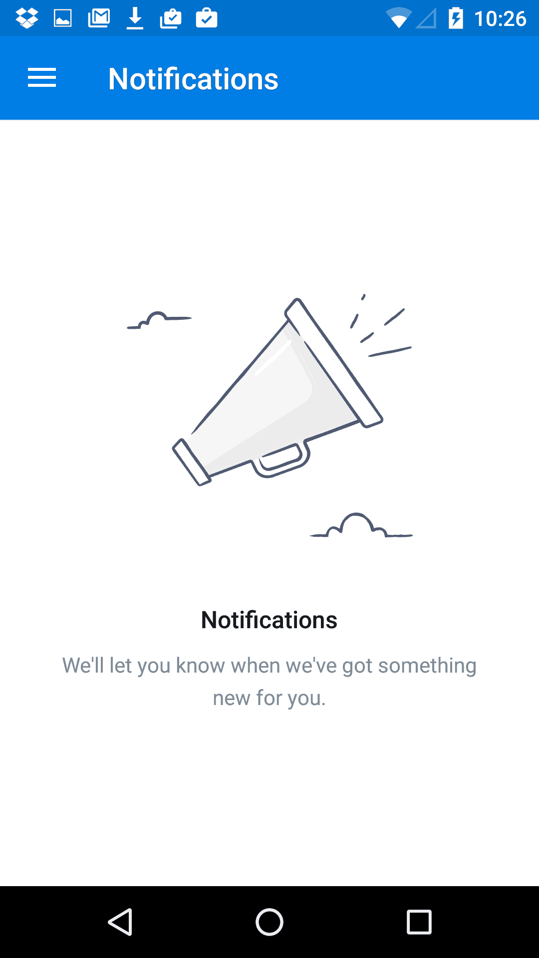 Empty message on Android by Dropbox from UIGarage