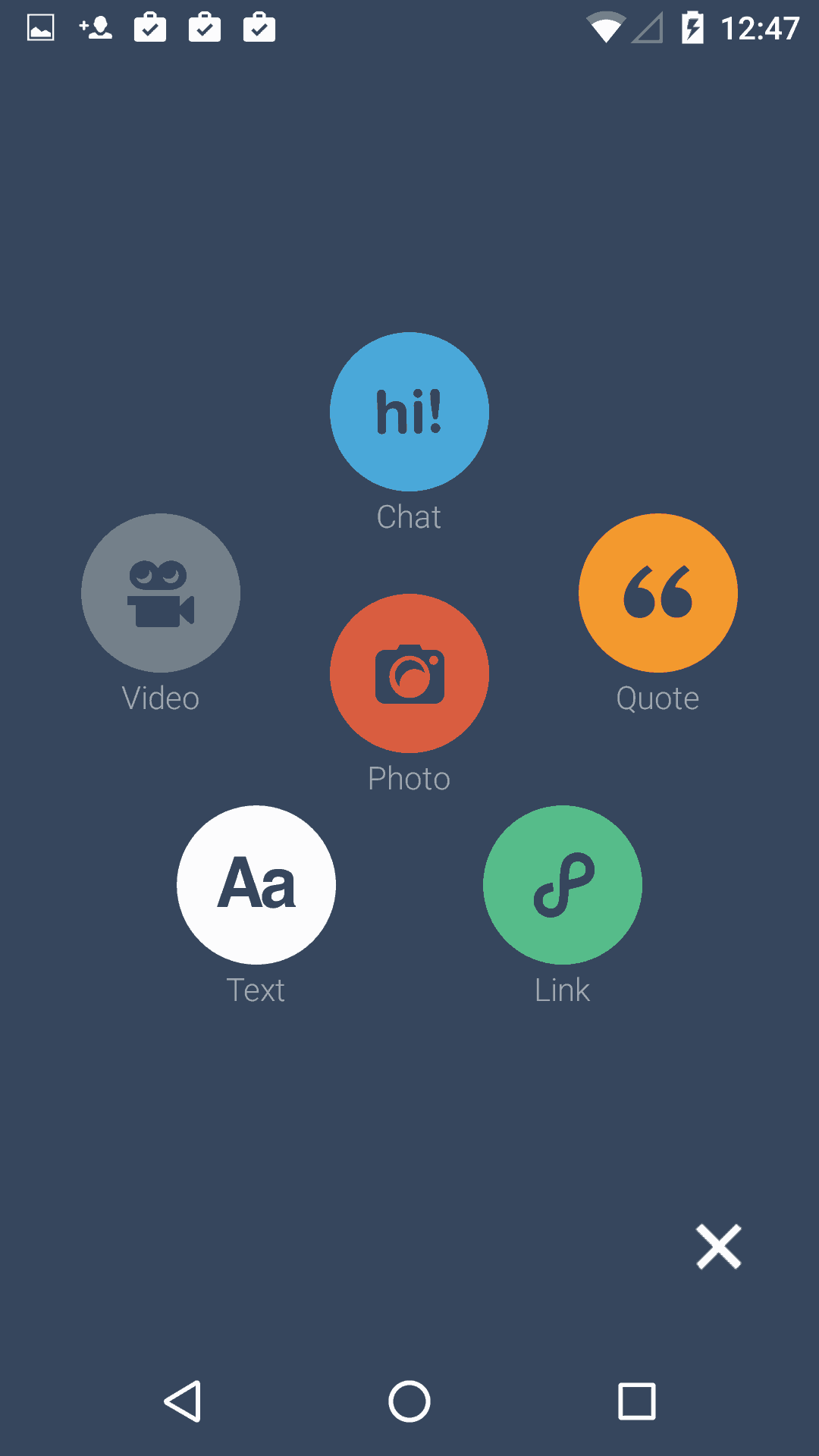 Create screen on Android by Tumblr from UIGarage