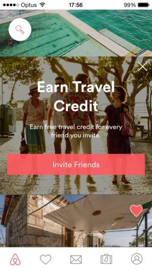 Ad screen invite friends on iOS by Airbnb from UIGarage