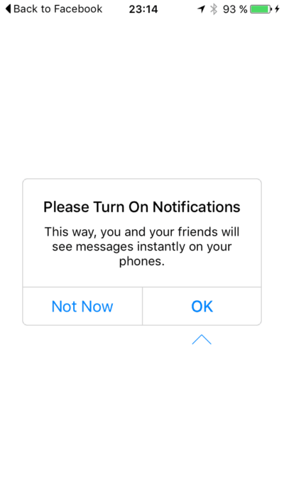 Ask permission on iOS by Messenger from UIGarage