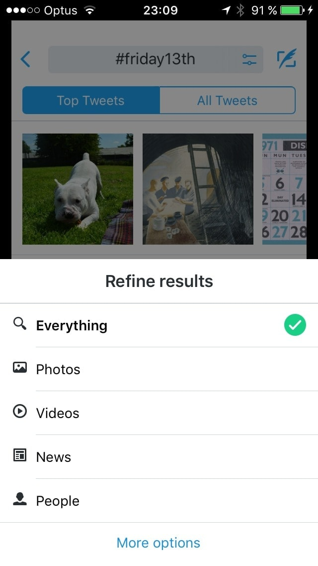 Filters screen on iOS by Twitter from UIGarage