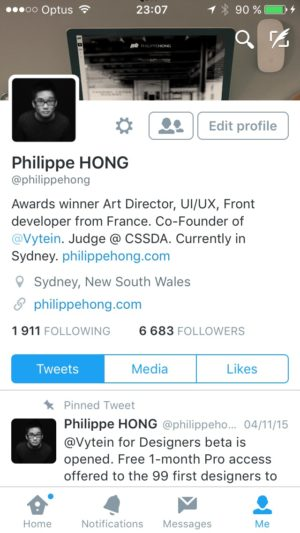 Profile screen on iOS by Twitter from UIGarage