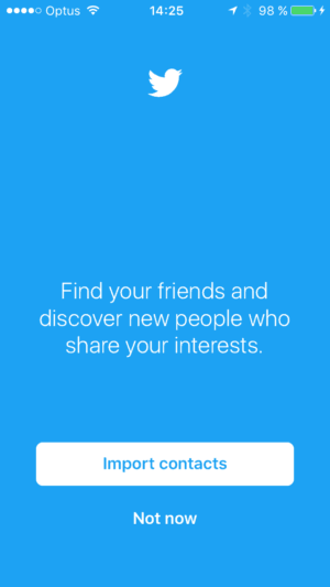 Ask contact import on iOS by Twitter from UIGarage