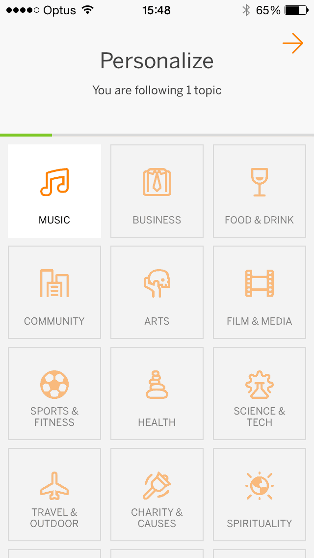 Select categories screen on iOS by Eventbrite from UIGarage