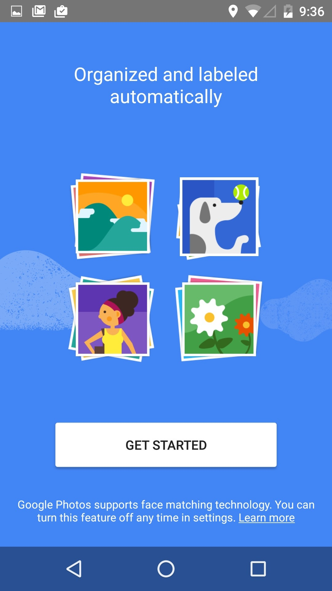 Onboarding on Android by Google Photo from UIGarage