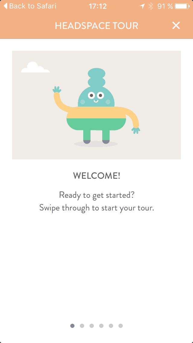 Onboarding on iOS by Get Headspace from UIGarage