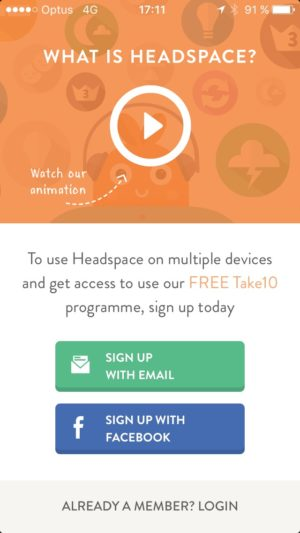 Signup on iOS by Get Headspace from UIGarage