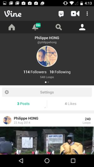 Profile screen on Android by Vine from UIGarage
