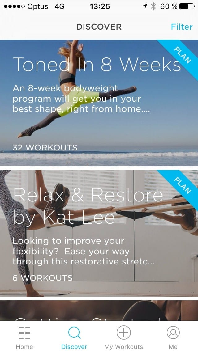Discover screen on iOS by Zovafit from UIGarage