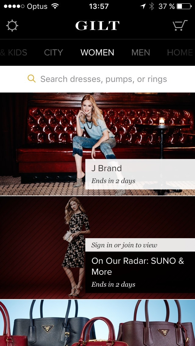 Feed screen with categories on iOS by Gilt from UIGarage