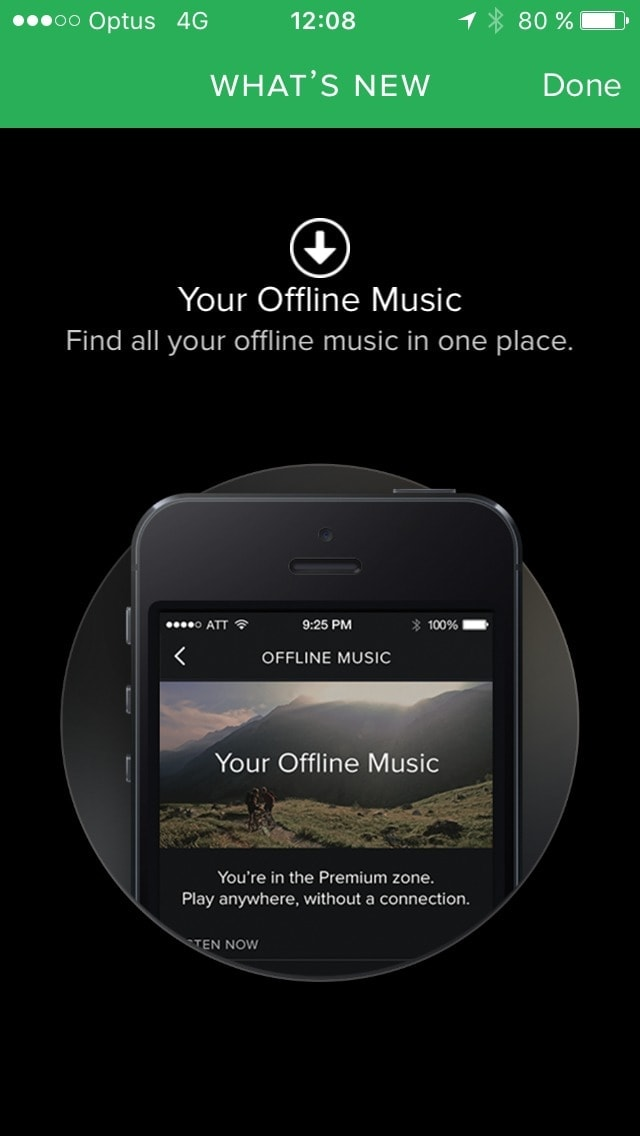 What's new screen on iOS by Spotify from UIGarage
