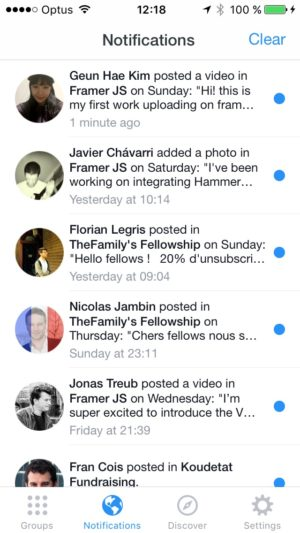 Notification screen on iOS by Facebook from UIGarage