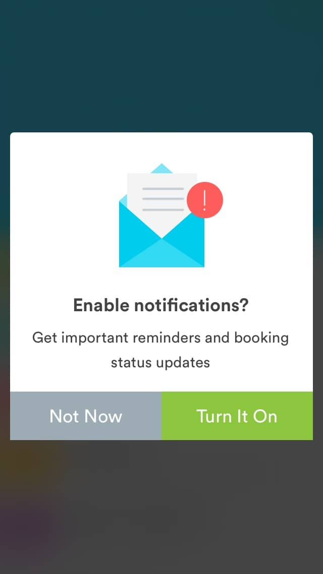 Ask permission screen on iOS by Handy from UIGarage