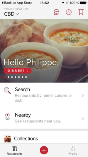 Homepage on iOS by Zomato from UIGarage