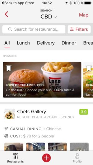Category page on iOS by Zomato from UIGarage