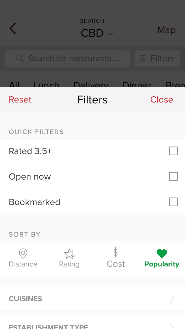 Filters Menu by Zomato from UIGarage