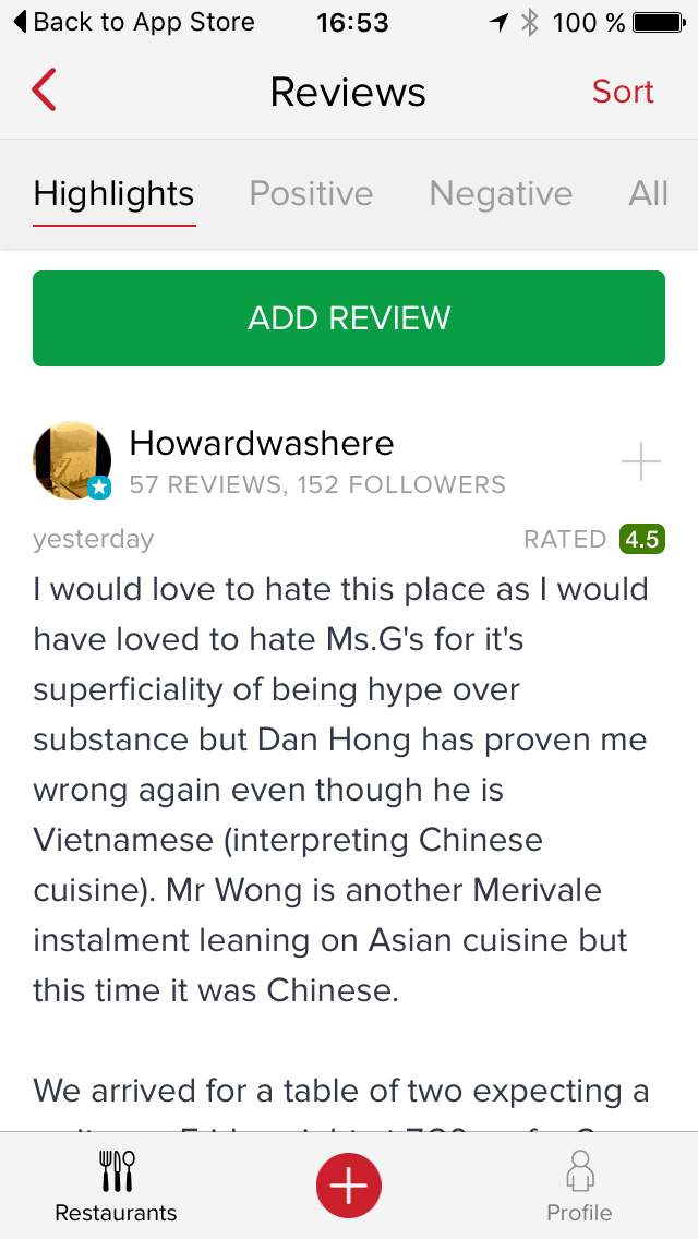 Reviews page on iOS by Zomato from UIGarage