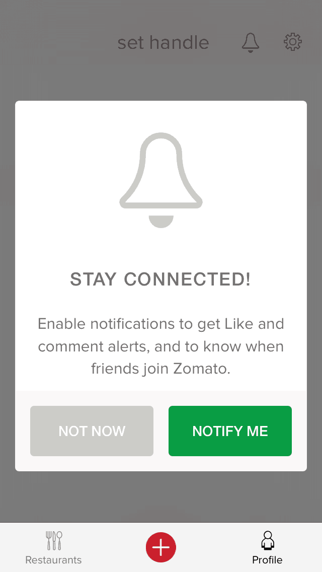 Notification permission by Zomato from UIGarage