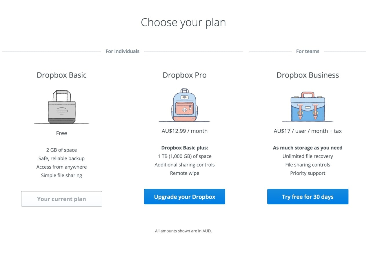 Pricing view by Dropbox from UIGarage