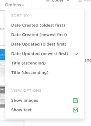 Dropdown filter by Evernote from UIGarage