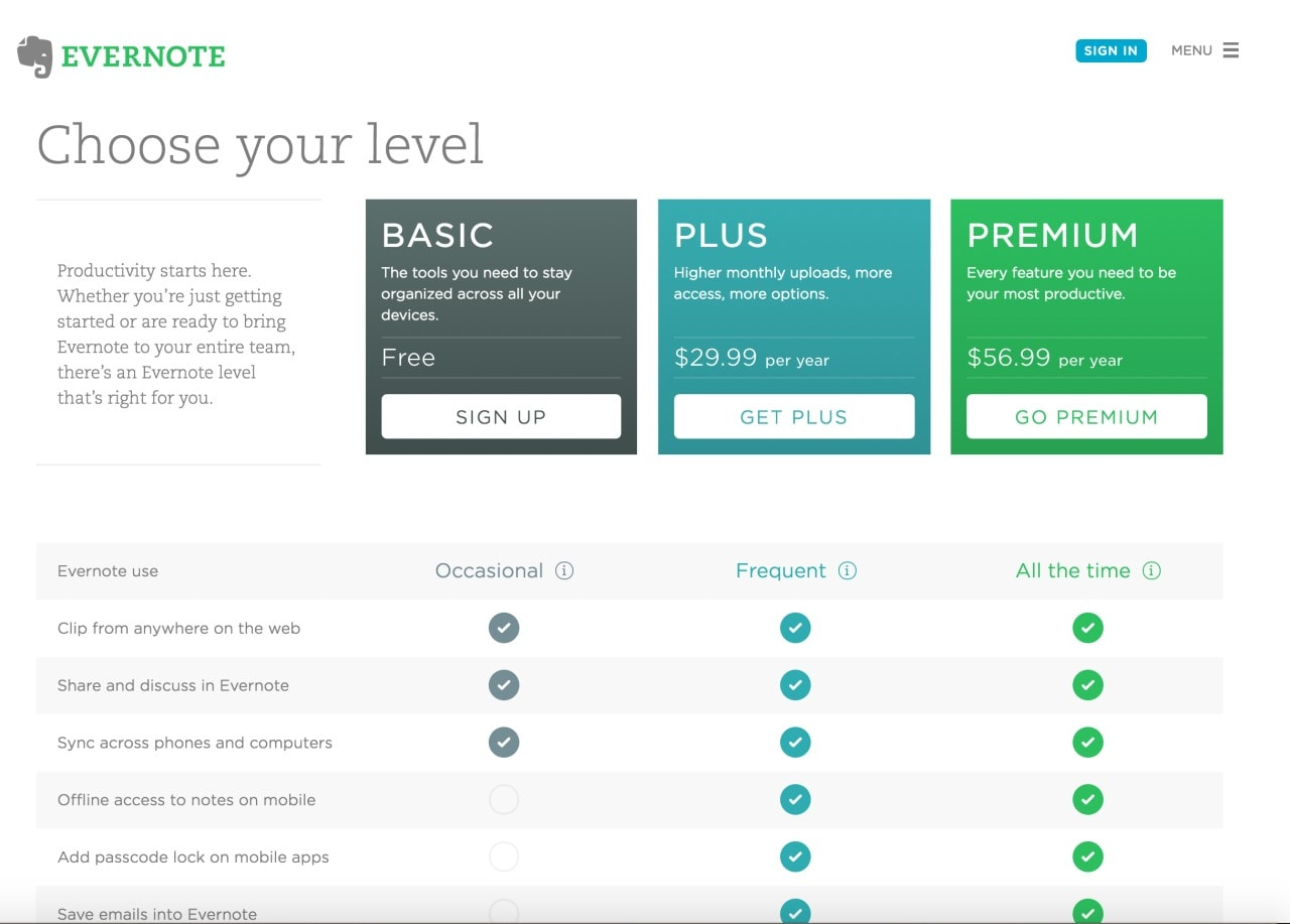 Pricing page by Evernote from UIGarage