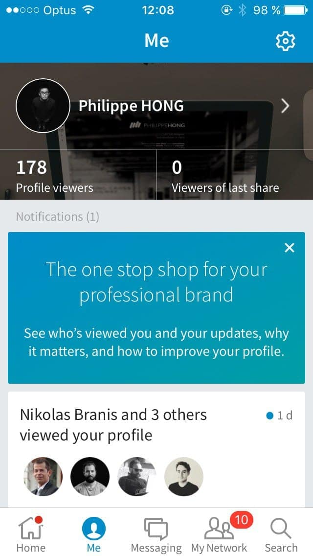 Profile screen on iOS by Linkedin from UIGarage