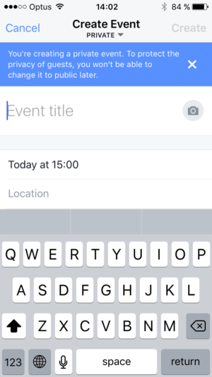 Warning when creating event on iOS by Facebook from UIGarage