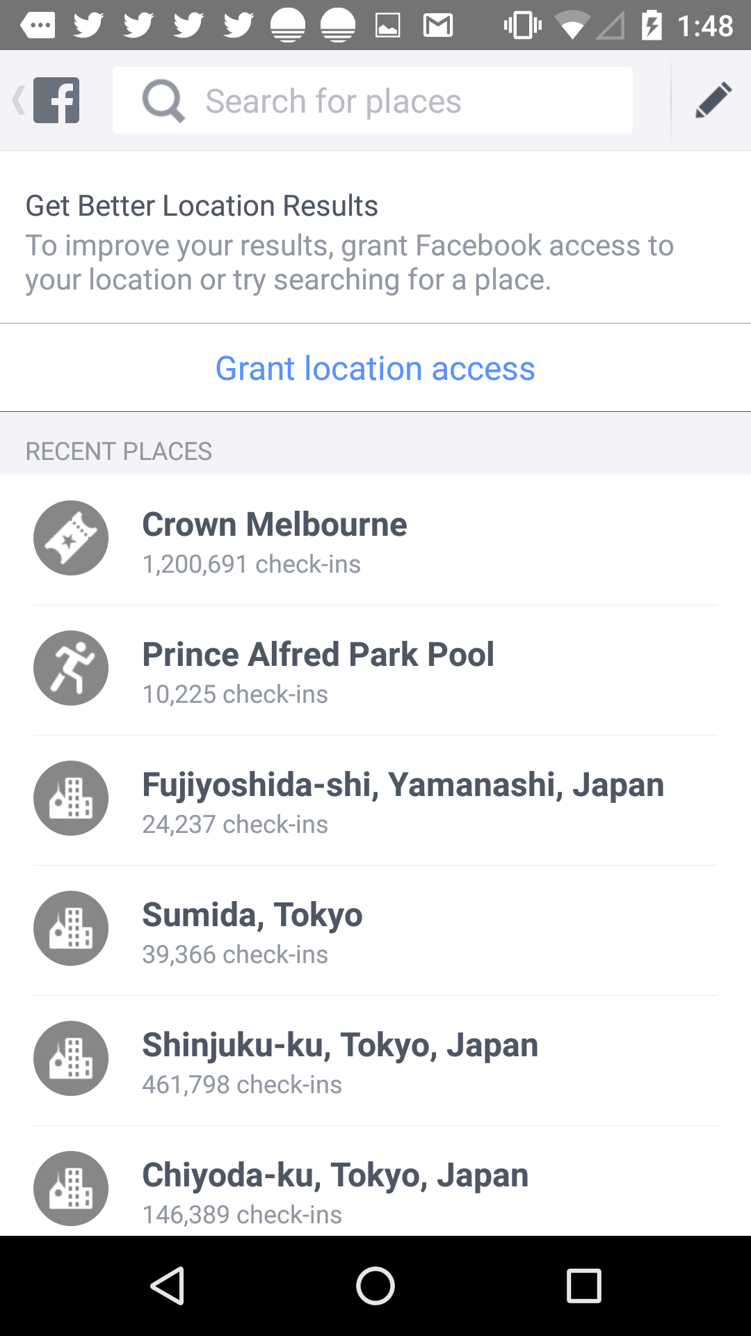 Search screen ask location by Facebook from UIGarage