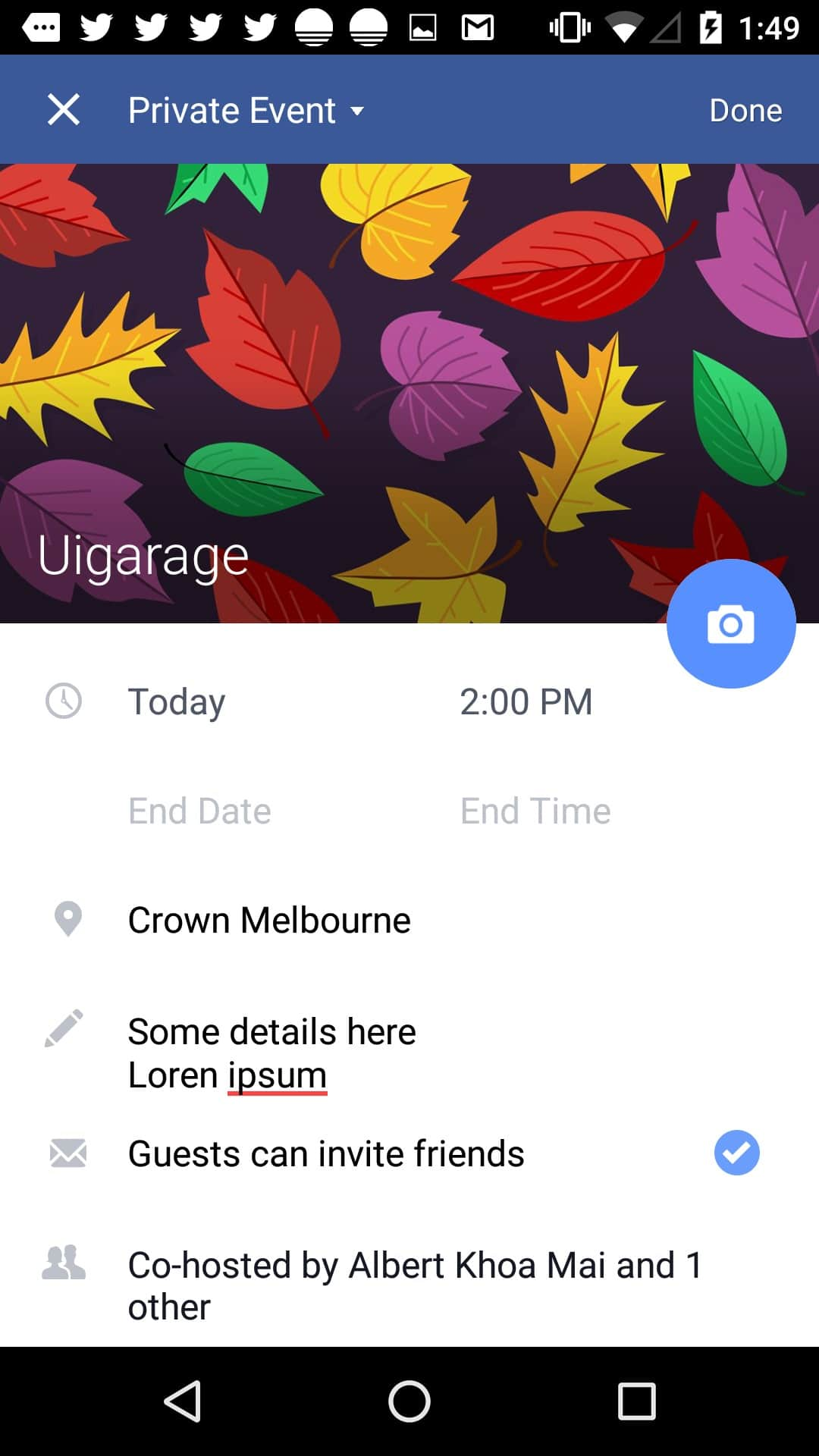 Create event page on Android by Facebook from UIGarage