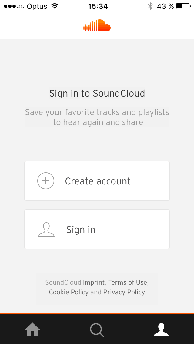 Signup/login screen on iOS by Soundcloud from UIGarage