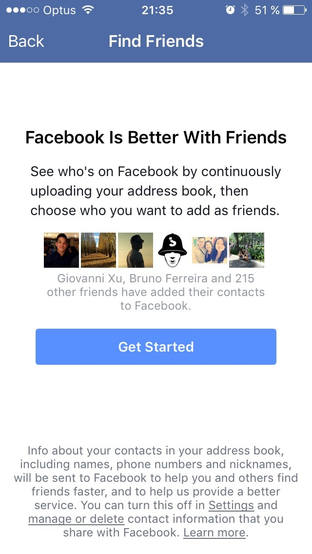 Find Friends screen on iOS by Facebook from UIGarage