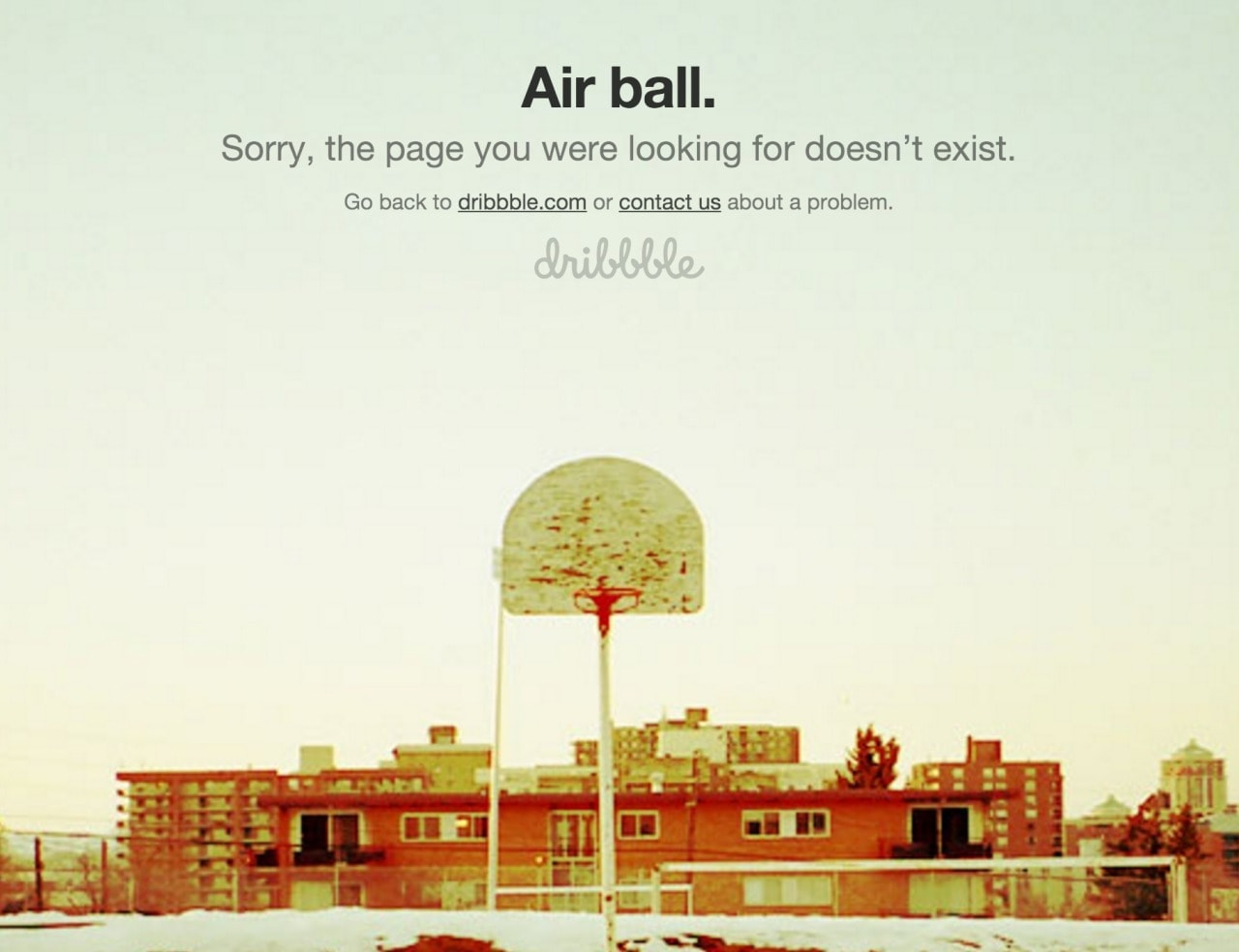404 page by Dribbble from UIGarage