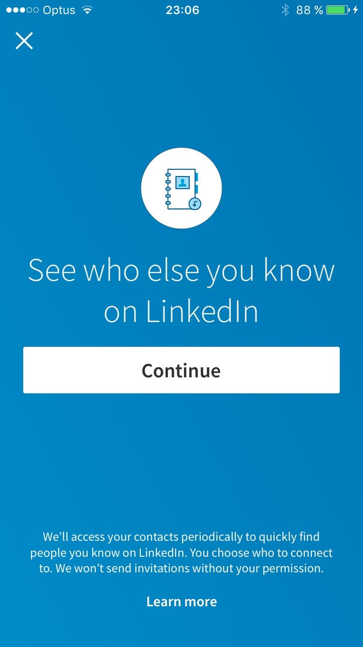 Ask contact on iOS by Linkedin from UIGarage
