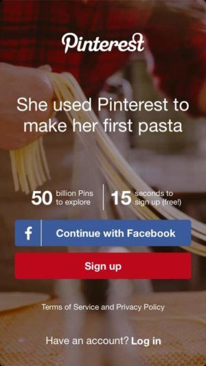 Sign up on iOS by Pinterest from UIGarage