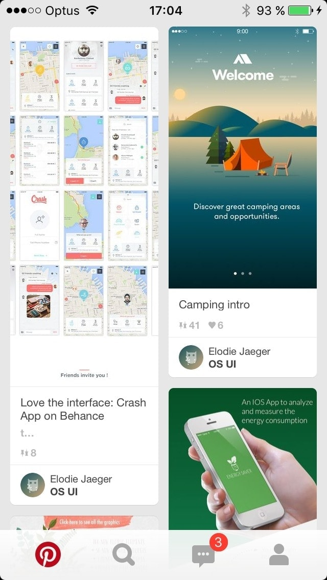 Homepage on iOS by Pinterest from UIGarage