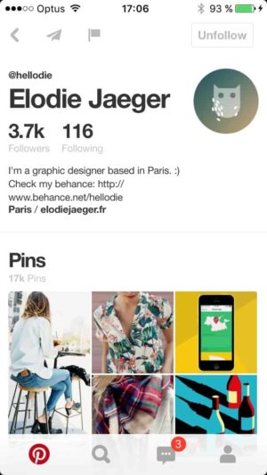 Profile on iOS by @pinterest from UIGarage