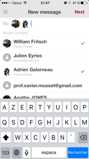 Select contact on iOS by Pinterest from UIGarage