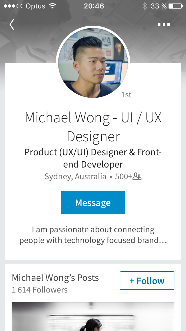 Profile page on iOS by Linkedin from UIGarage
