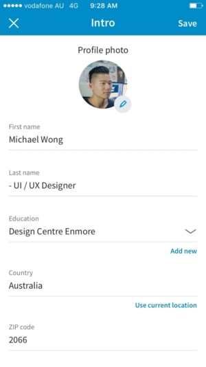 Editing profile on iOS by Linkedin from UIGarage