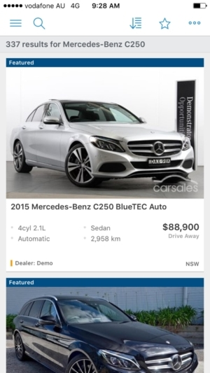 Search results on iOS by Carsalescomau from UIGarage