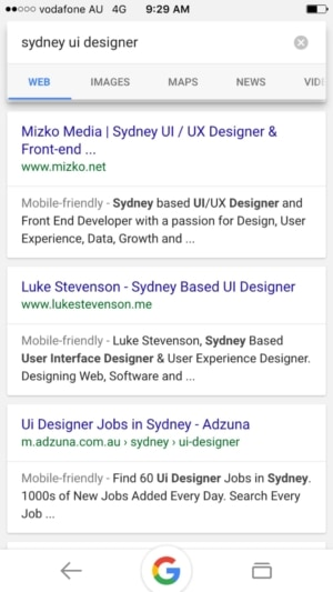 Search results on iOS by Google from UIGarage