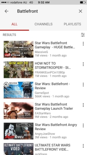 Search results on iOS by Youtube from UIGarage