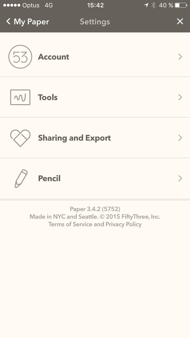 Settings page on iOS by Fiftythree from UIGarage