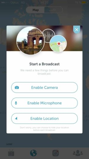Permissions screen on iOS by Periscope from UIGarage