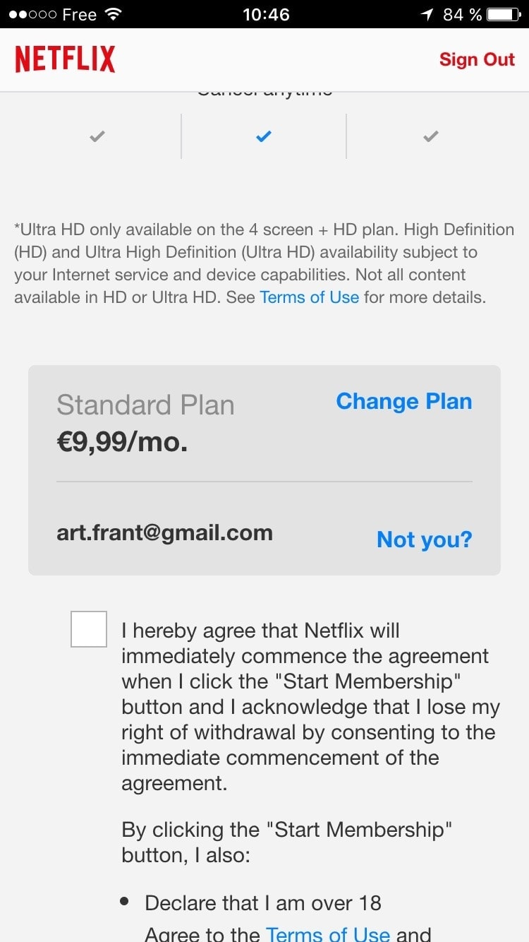 Pricing on iOS by Netflix from UIGarage
